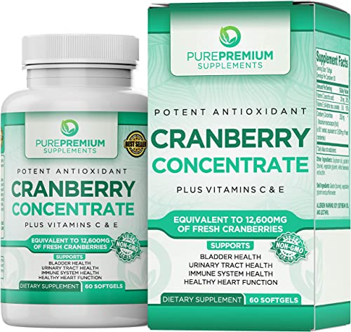 Premium Cranberry Concentrate Pills by PurePremium Non-GMO Gluten Free . Triple Strength Cranberry Capsules Equals 12600mg of Cranberries. Plus, Vitamins C E for Enhanced Absorption.