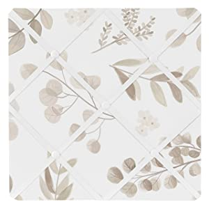 Sweet Jojo Designs Floral Leaf Fabric Memory Memo Photo Bulletin Board - Ivory Cream Beige Taupe and White Gender Neutral Boho Watercolor Botanical Flower Woodland Tropical Garden