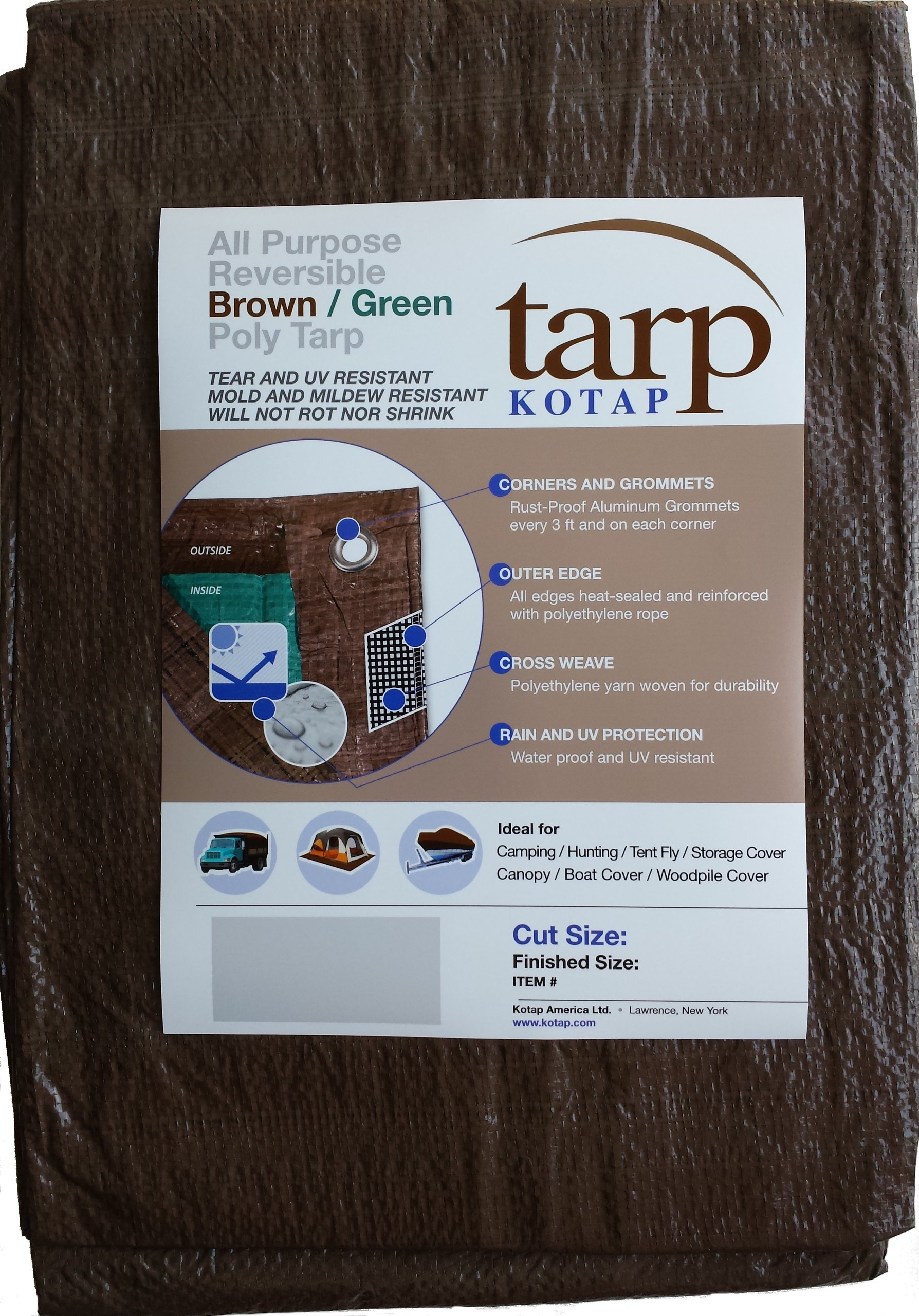 Kotap 20-ft x 20-ft Reversible Brown/Green Poly Tarp, Item: TBG-2020