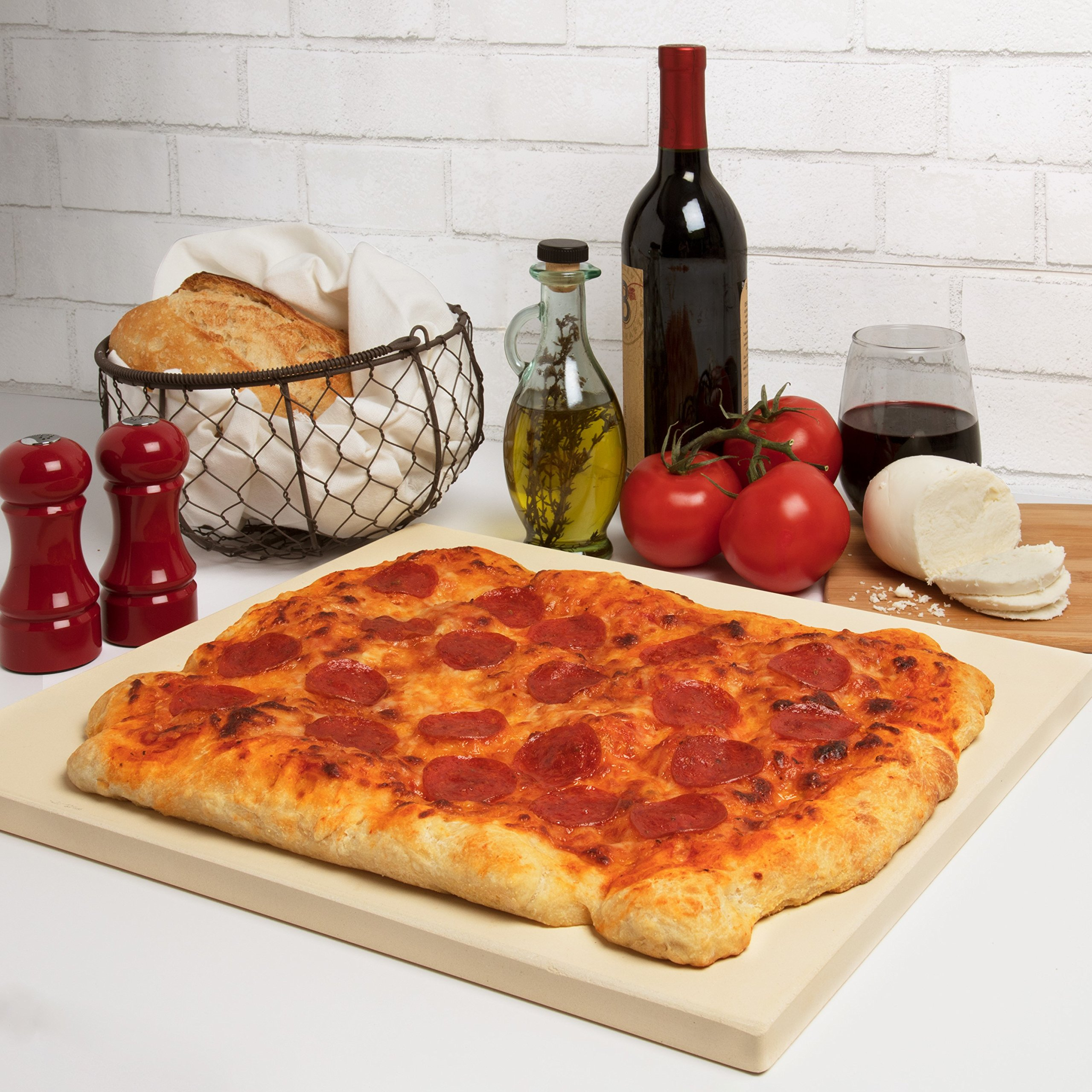 CucinaPro 815 Oven, Grill, BBQ-Rectangular Pizza Baking Stone-XL 16'' x 14'' Pan for Perfect Crispy Crust, Light Brown