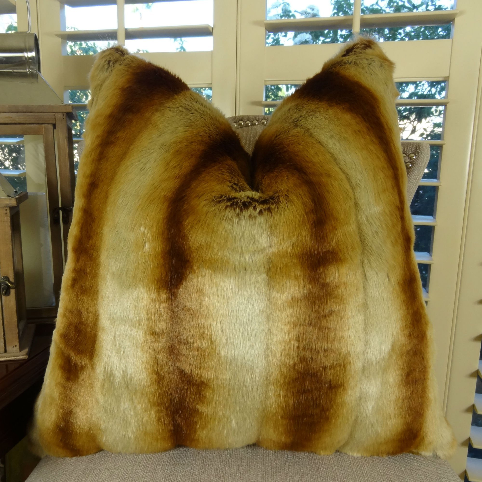 Thomas Collection Chinchilla Faux Fur pillow, Chinchilla Faux Fur, Beige Tan Goldish Brown Chinchilla Fur pillow, Soft Fur, COVER ONLY, NO INSERT, Made in America, 17418