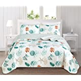 Great Bay Home 3 Piece Quilt Set with Shams. Soft All-Season Cotton Blend Bedspread Featuring Attractive Seascape Images…