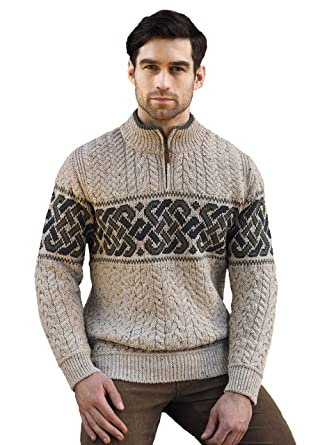 80fa15728919 Image Unavailable. Image not available for. Color  Aran Crafts Carrolls  Irish Gifts Men s Half-Zipped Jacquard Sweater with Celtic Knitted Design