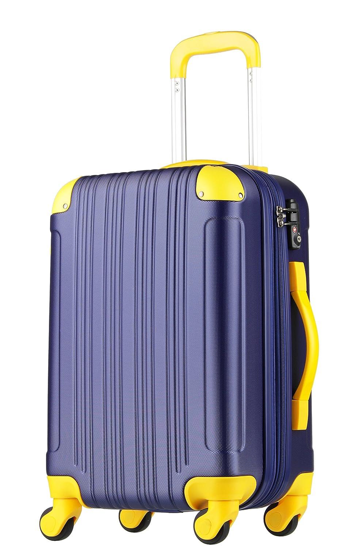 【レジェンドウォーカー】LEGEND WALKER スーツケース 容量拡張 TSAロック 超軽量 マット加工 ファスナー開閉 5082 B0718VWQ6R Mサイズ(5~7泊/61(拡張時72)L)|ネイビー/イエロー ネイビー/イエロー Mサイズ(5~7泊/61(拡張時72)L)