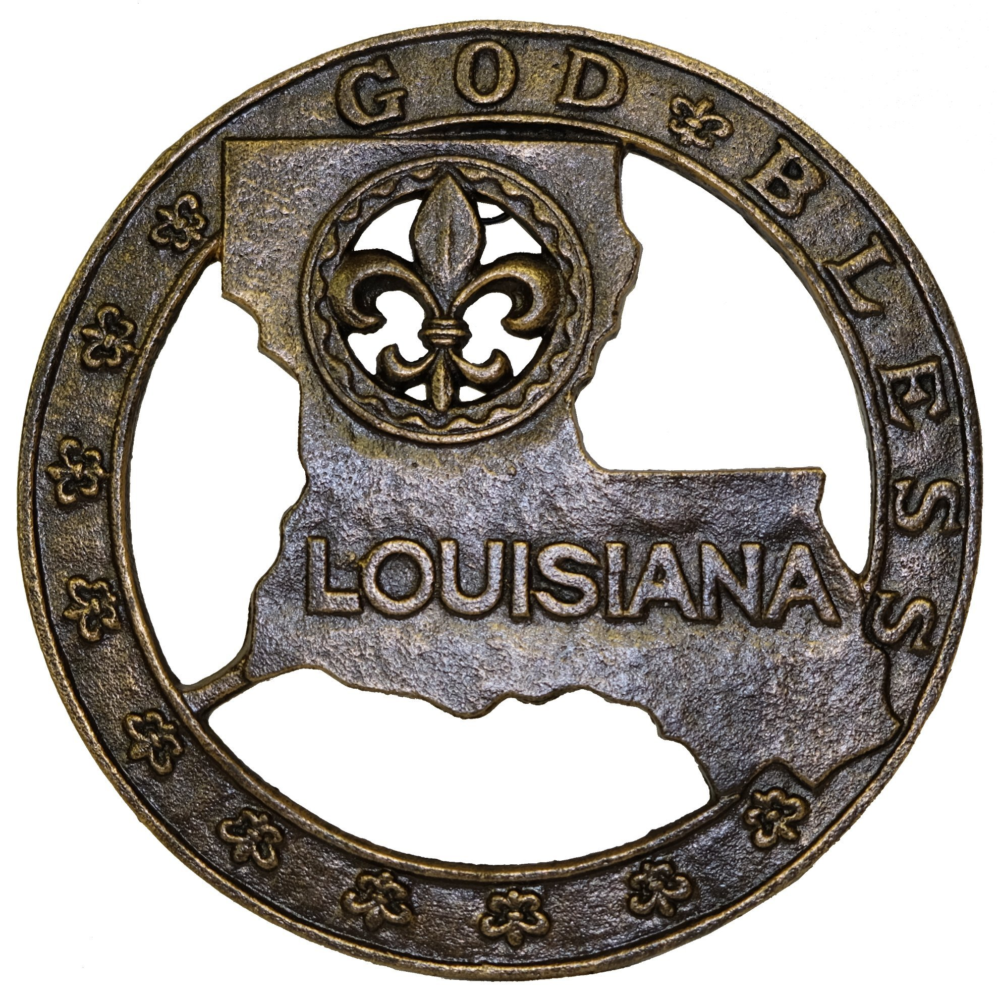 Cast Iron God Bless louisiana map and Fleur de lis Trivet