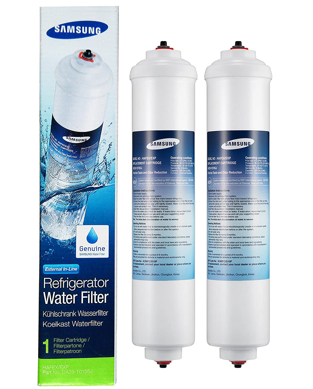 DA29-10105J Genuine SAMSUNG AQUA PURE Refrigerator Water Filter Cartridge 3 Pack