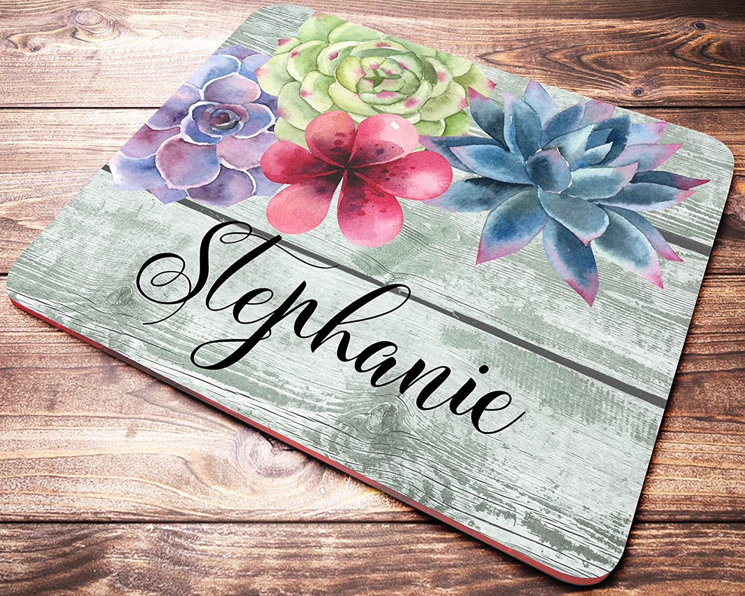 Personalized Name Succulent Mouse Pad Custom Name Faux Wood Mousepad Personalized Office Gifts Supplies for Women