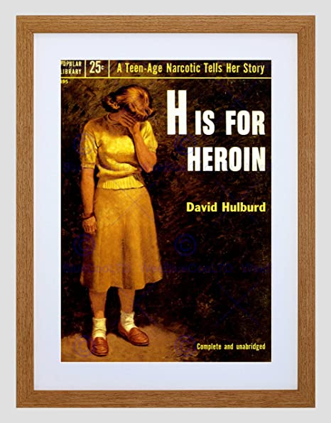 Amazon Com Book Cover H For Heroin Drug Addiction Hulburd Usa Framed Art Print B12x6579 Furniture Decor