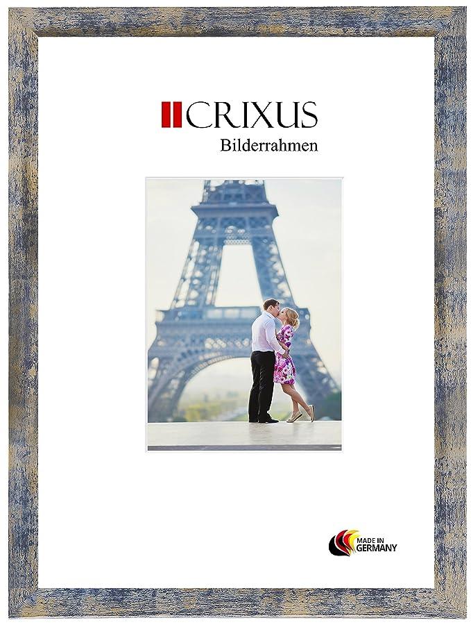 Crixus35 Cadre photo pour photos 50 cm x 133 cm, couleur: Bleu Or Argent, cadre en bois MDF fait sur mesure avec le verre d'art acrylique et le panneau arrière de MDF, largeur du cadre: 35mm, dimension extérieur