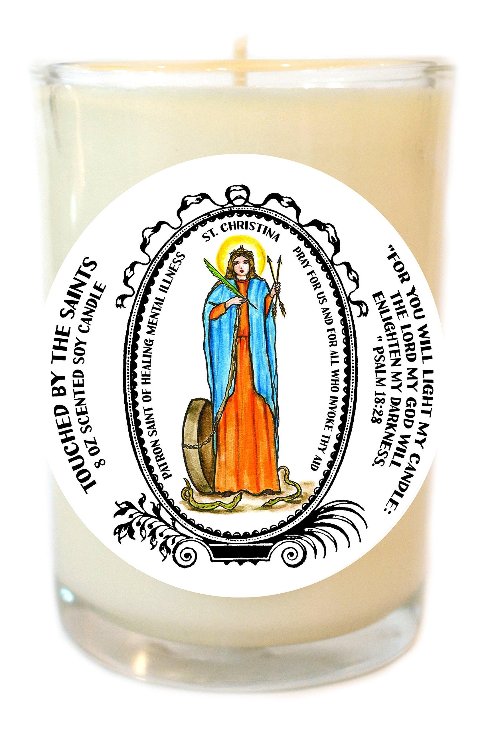 Saint Christina Patron of Healing Mental Illness 8 Oz Scented Soy Prayer Candle