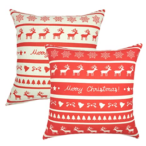 YOUR SMILE Set of 2 Merry Christmas Square Decorative Throw Pillows Case Cushion Covers Shell Cotton Linen Blend 18 X 18 Inches,Red/White