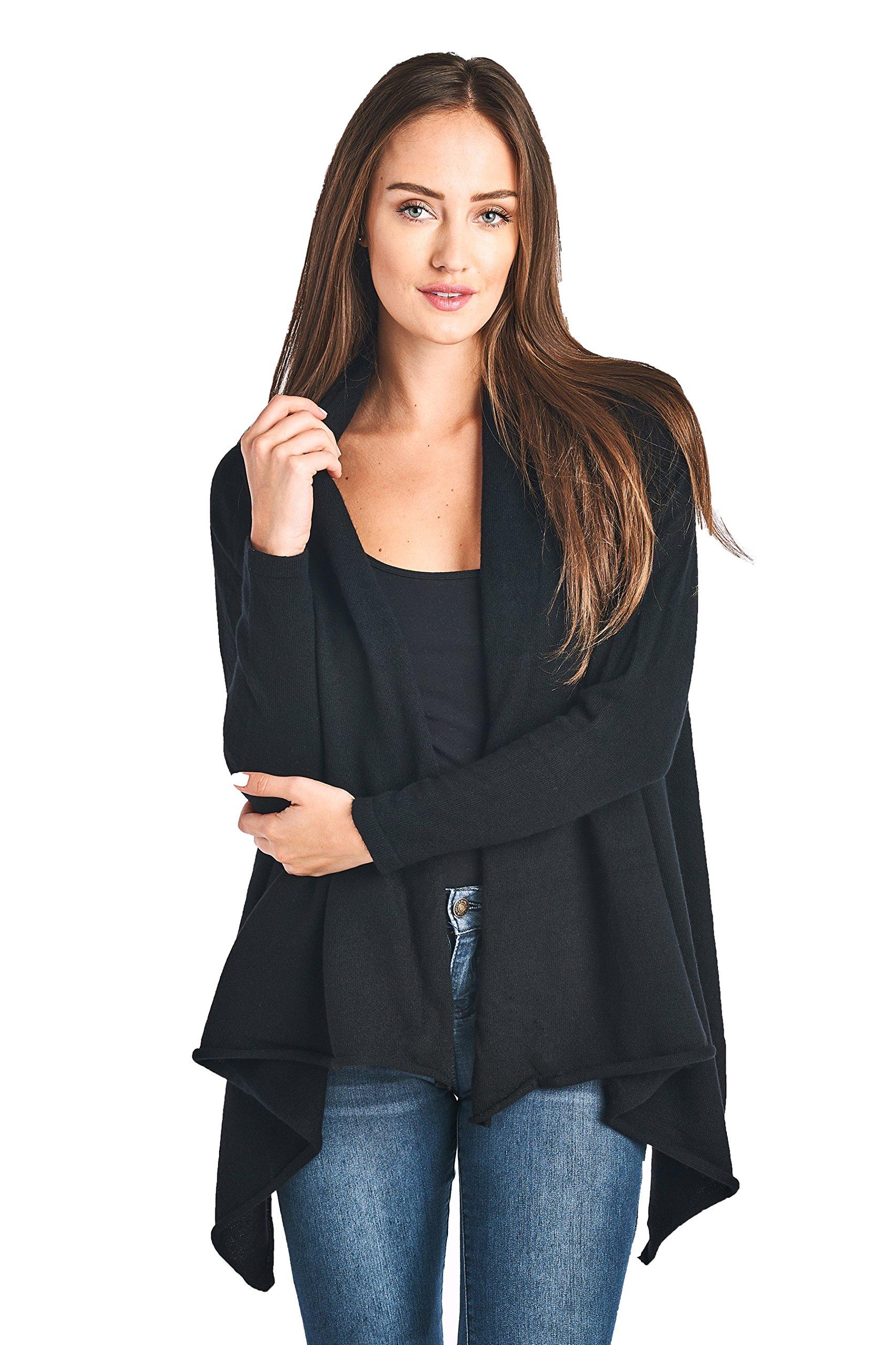 High Style Women's 100% Cashmere Long Sleeve Front Asymmetric Hem Open Cardigan Sweater (17616, Black, XL)