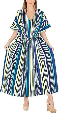 9b7b4715cb LA LEELA Printed Plus Size Caftan Dress for Women Long Blue_X718 OSFM  14-22W at Amazon Women's Clothing store: