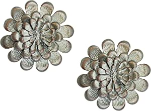 Silver Metal Flower Wall Decorations, Set of 2, with Layered Petals Accented with Copper Color for Bathroom, Living Room, Kitchen, Bedroom Decor or Outdoor Art Garden and Patio
