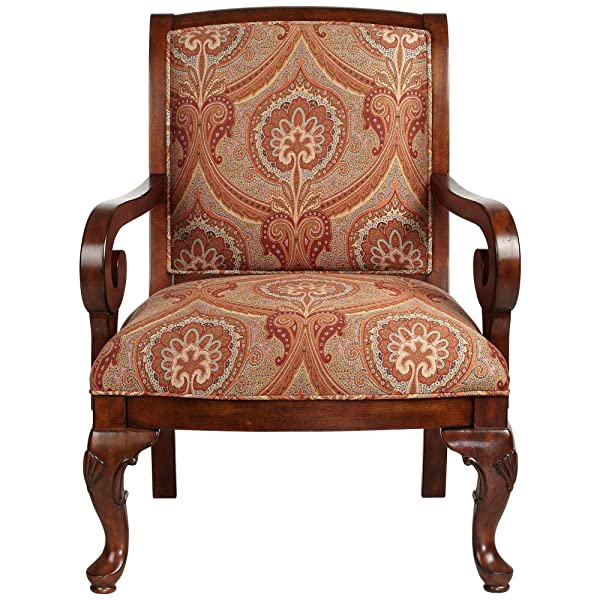 Diana Wood and Red Upholstered Accent Chair