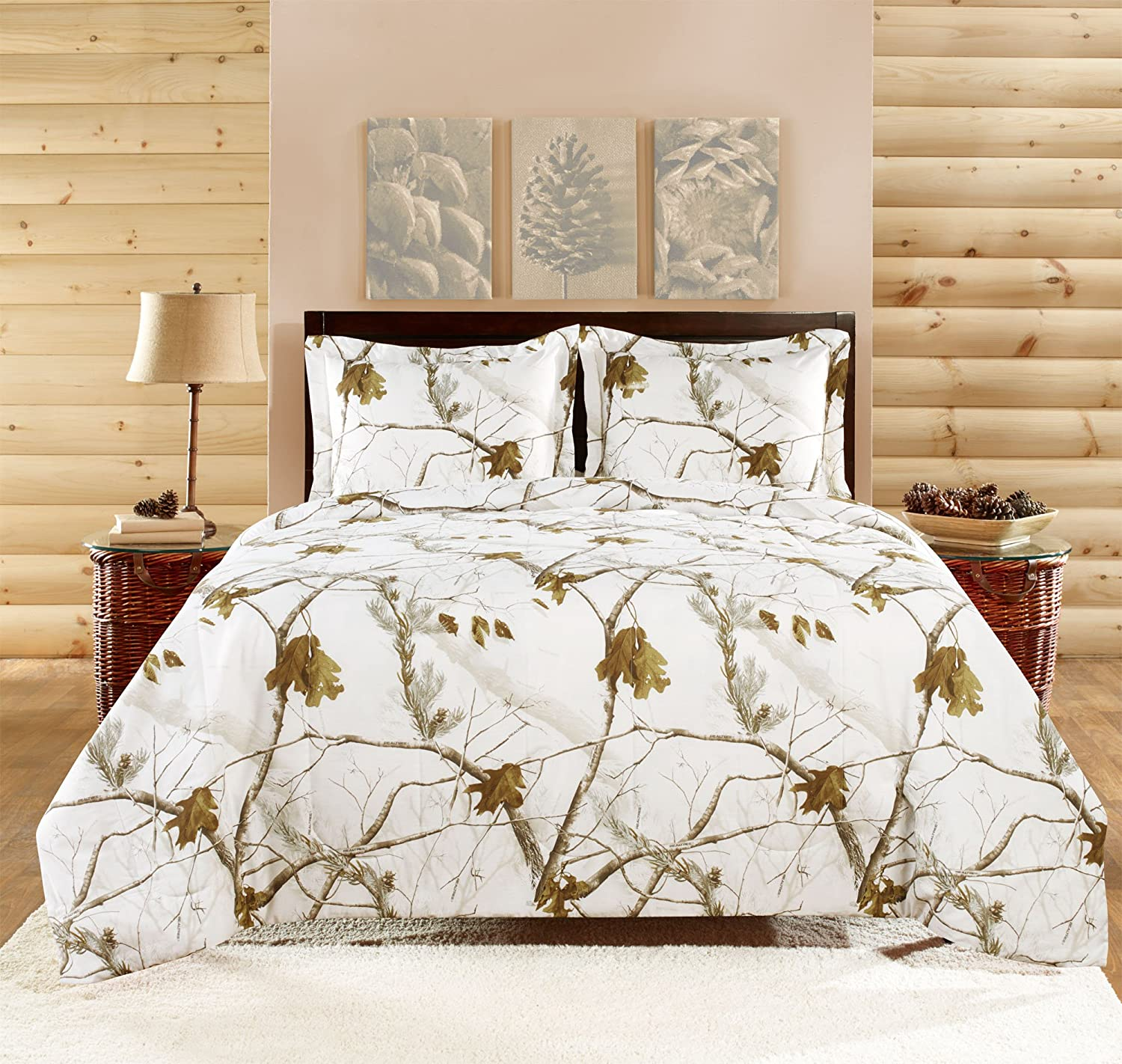 Realtree APC 3 Piece Comforter Set, Queen, Bright Snow