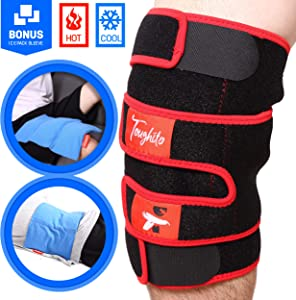 Hyperflex360 Knee Ice Pack Wrap – Compression Knee Wraps for Pain, Swelling, and Recovery with 3 Reusable Hot/Cold Gel Packs + Ice Pack Sleeve – Comfy Ice Pack for Knee with Wrap by Toughito