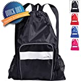 Athletico Mesh Swim Bag - Mesh Pool Bag With Wet & Dry Compartments for Swimming, the Beach, Camping and More