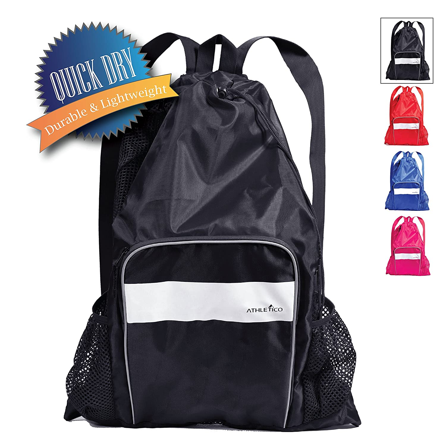 Athletico Mesh Swim Bag Mesh Pool Bag with Wet Dry Compartments for Swimming The Beach Camping and More