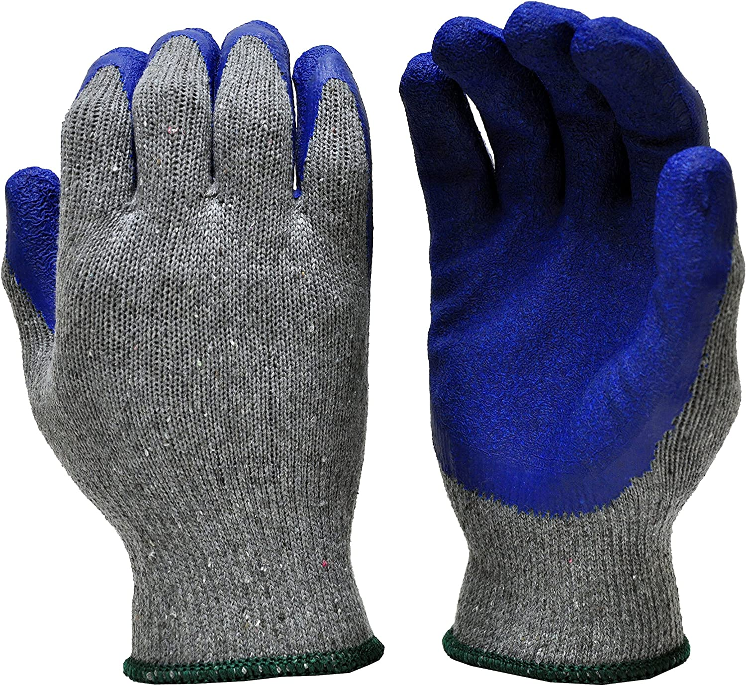 G & F 1511M-DZ Rubber Latex Coated Work Gloves for Construction, Blue, Crinkle Pattern, Men's Medium (Sold by dozen, 12 Pairs)