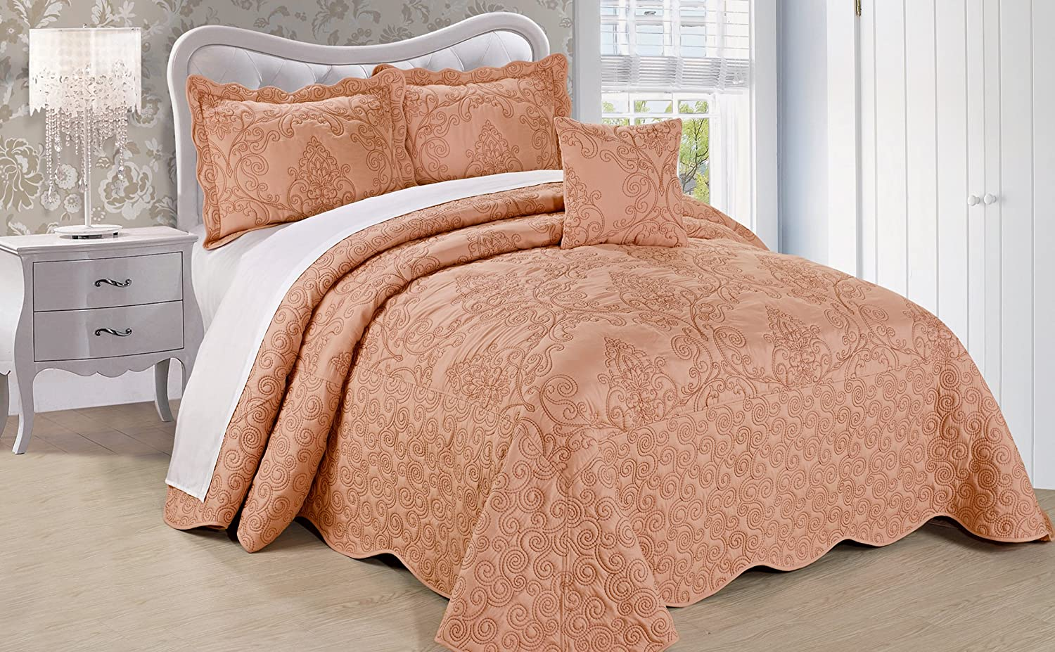 Serenta Damask 4 Piece Bedspread Set, Queen, Dusty Pink