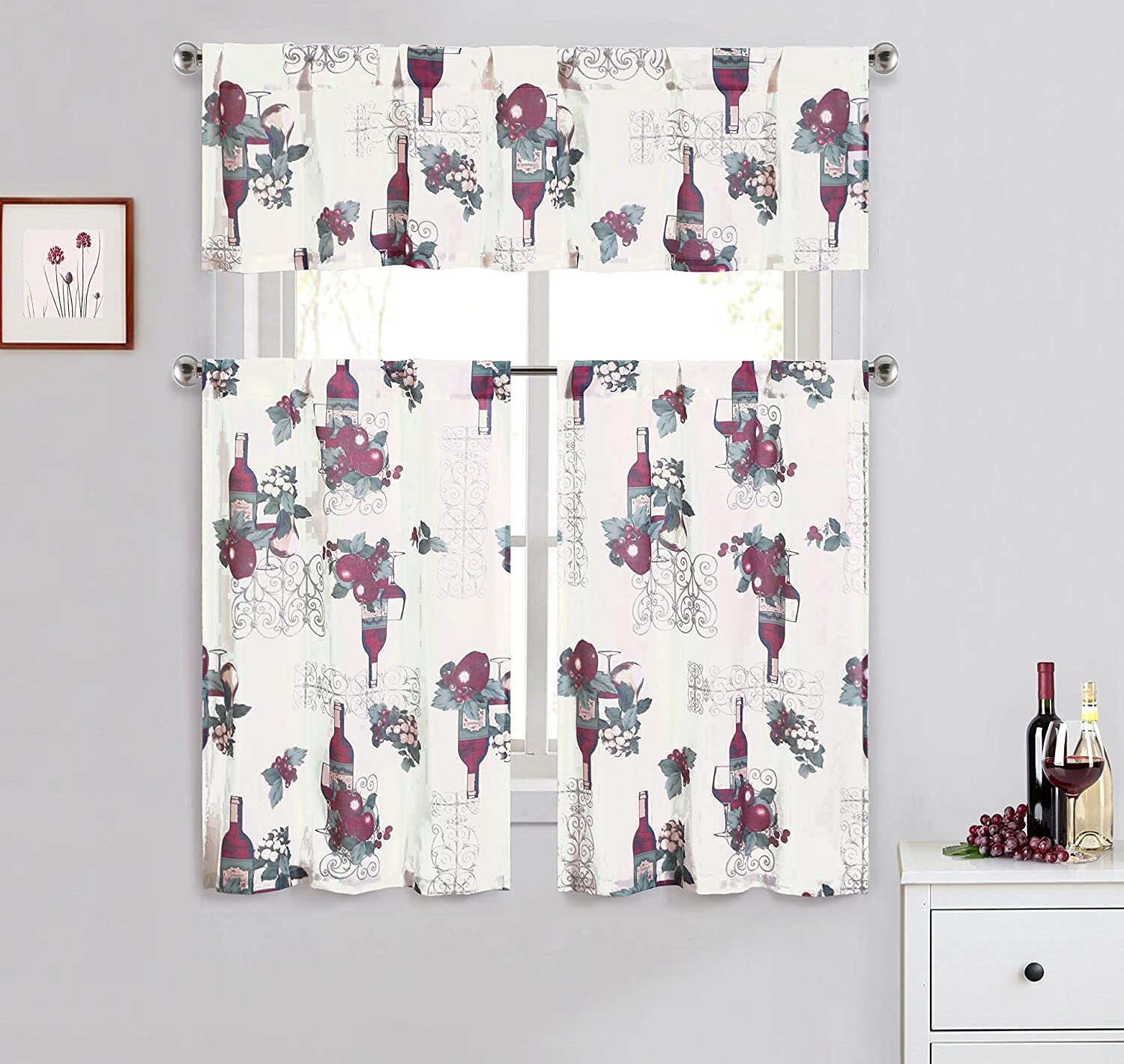 Cotton Blend 3 Piece Kitchen/Cafe Tier Window Curtain Set: Grapes Wine Design Bathroom and More KWC-WINE-MULTI