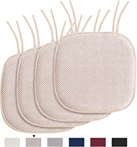 """H.VERSAILTEX Chair Cushion Memory Foam Chair Pads with Ties Honeycomb Pattern Nonslip Rubber Back Rounded Square 16"""" x 16"""" Dining Chair Seat Cover (4 Pack, Sand)"""