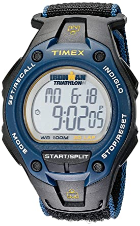 cbe09d27563c Timex Men s T5K413 Ironman Classic 30 Oversized Black Blue Yellow Fast Wrap  Watch