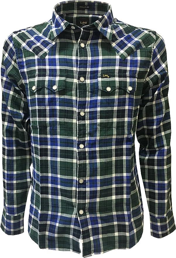 Lee 101 Camisa de hombre 101 Rider Camiseta corte Western cuadros azul/verde regular Fit botones automáticos 100% algodón: Amazon.es: Ropa y accesorios