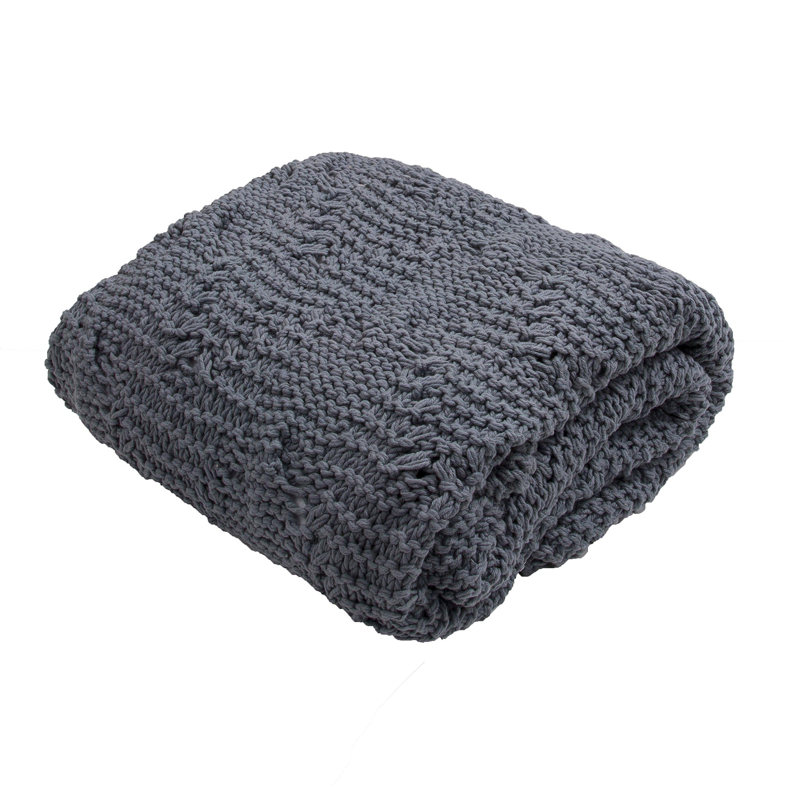 Jaipur Soft Hand Solid Pattern Dark Gray Cotton Throw, 50-Inch x 60-Inch, Goblin Blue Serin-2