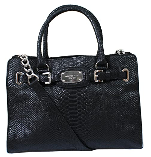 1c8a11f0fdf9 ... discount code for michael kors hamilton large ew python embossed  leather tote in black aadf6 d4496