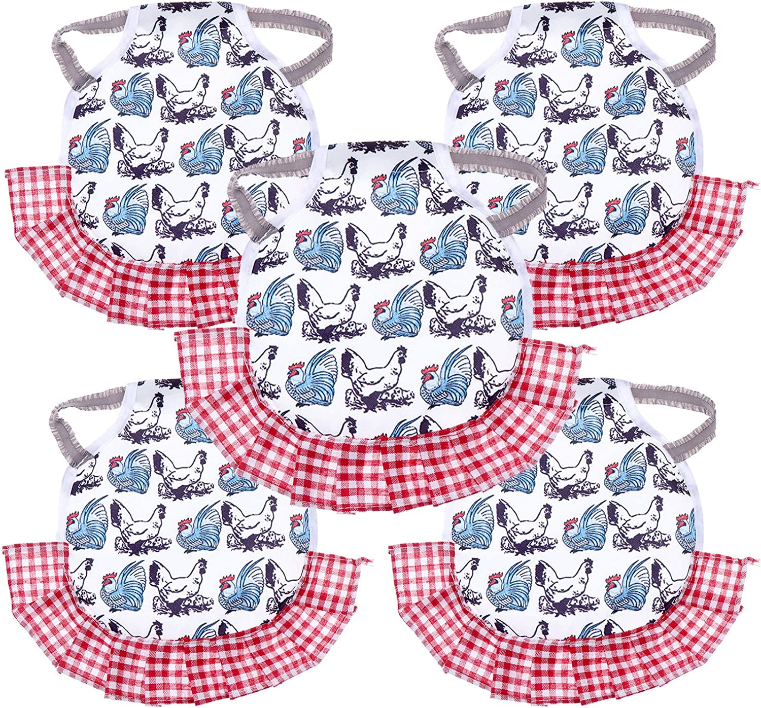 5 Pack Chicken Saddle Hen Apron Feather Fixer Wing Back Protector Hen Apron with Elastic Straps for Small, Medium and Large Hens (Hen)