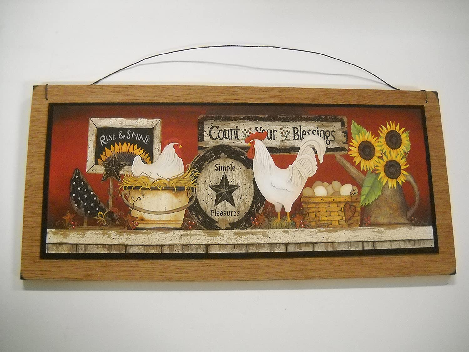 Amazon.com: Rooster Country Kitchen Wooden Wall Art Sign Farm Decor: Home  Improvement
