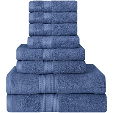 Utopia Towels Premium 700 GSM 8 Piece Towel Set; 2 Bath Towels, 2 Hand Towels and 4 Washcloths - Cotton - Machine Washable, Hotel Quality, Super Soft and Highly Absorbent (Electric Blue)