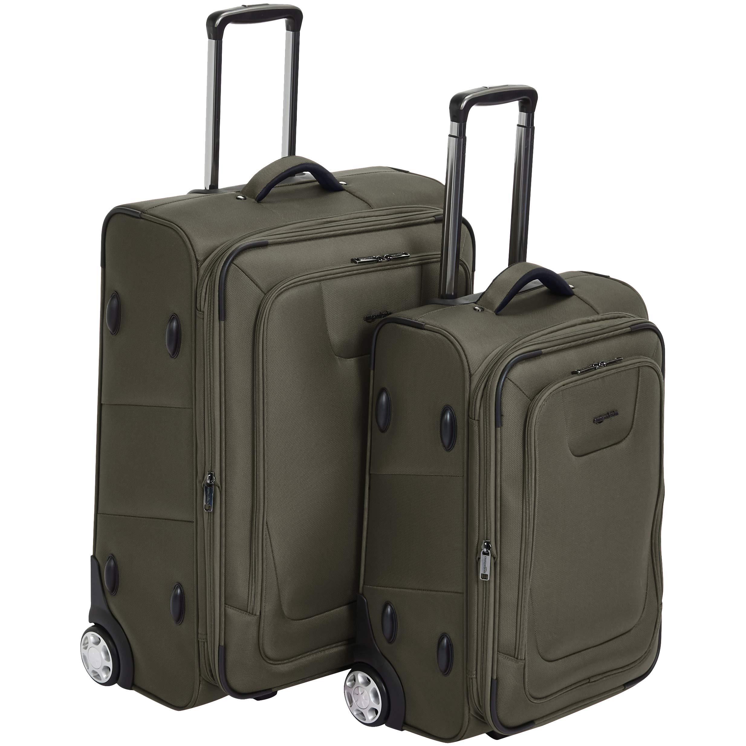AmazonBasics Premium Upright Expandable Softside Suitcase with TSA Lock 2-Piece Set - 22/26-Inch, Olive