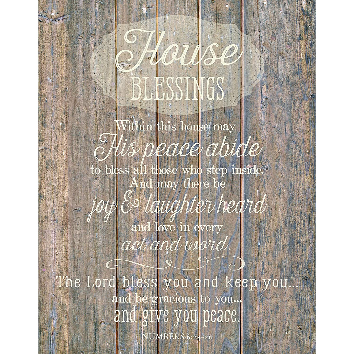 "House Blessing Wood Plaque Inspiring Quote 11.75""x15"" - Classy Vertical Frame Wall Hanging Decoration 