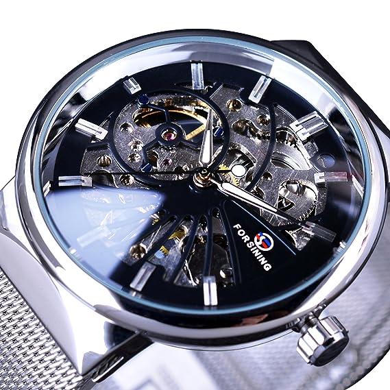 Forsining plata malla de acero banda moda casual esqueleto mecánico reloj de pulsera