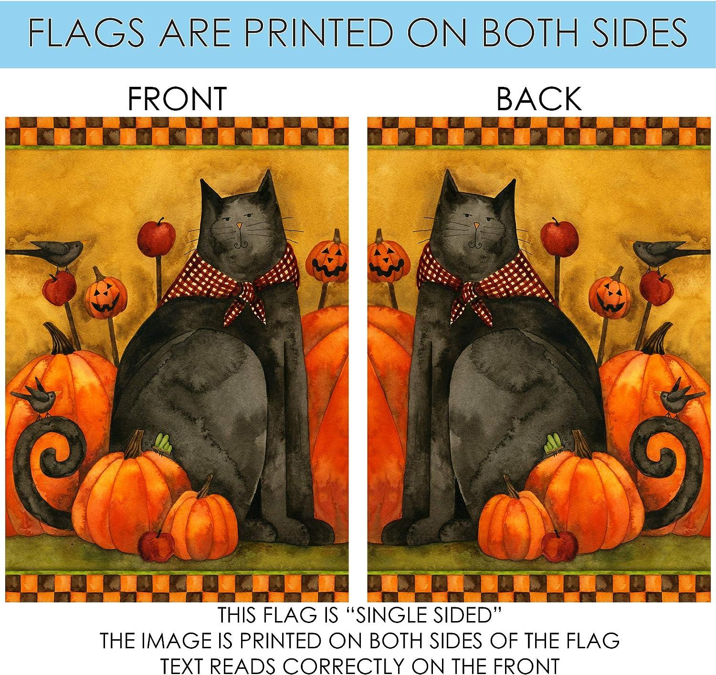 "28/"" x 40/"" Folk Cat Primitive House Flag by Toland #29259 Halloween"