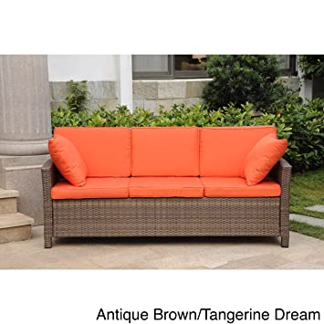 International Caravan Lisbon Resin Wicker Sofa With Corded Cushions And  Throw Pillows Antique Brown/Tangerine