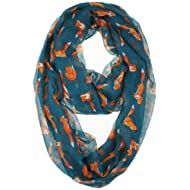 Vivian & Vincent Soft Light Cartoon Fox Sheer Infinity Scarf