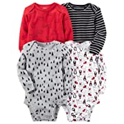 car Carter's Baby Boys 4-pack Long-sleeve Bodysuits (6 months, Red Winter)