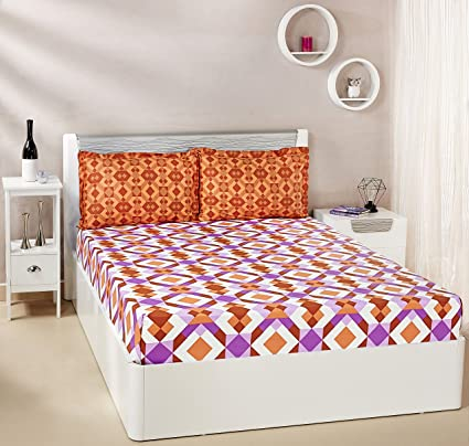 be2b095d1 Amazon Brand - Solimo Kaleidoscope Dreams 144 TC 100% Cotton 1 Double  Bedsheet with 2 Pillow Covers