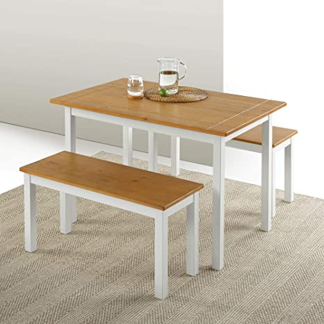 Amazon Com Zinus Becky Farmhouse Dining Table With Two Benches 3 Piece Set Tables