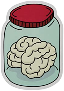 "Brain In A Jar Stickers 2-Pack of Vinyl Decals Measuring 4"" x 3"" Great for Cars Windows Water Bottles Laptops"