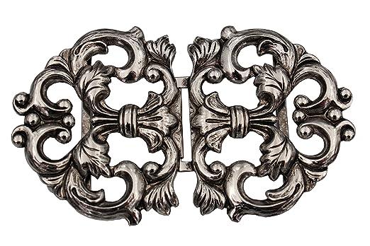 Dirndl Schliesse silber Schnalle Metall Schürze Verschluss 80x50mm 1 Stück
