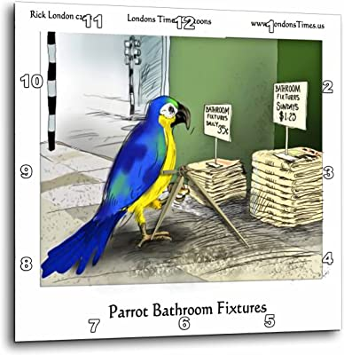 Londons Times Offbeat Cartoons Animals - Parrot Bathroom Fixtures Funny Gifts - 10x10 Wall Clock (dpp_28962_1)