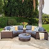 Riviera Otranto Outdoor Patio Furniture Wicker 8 Piece Semicircular Sectional Sofa Seating Set w/ Waterproof Cushions (Ice Bucket Ottoman, Navy Blue)