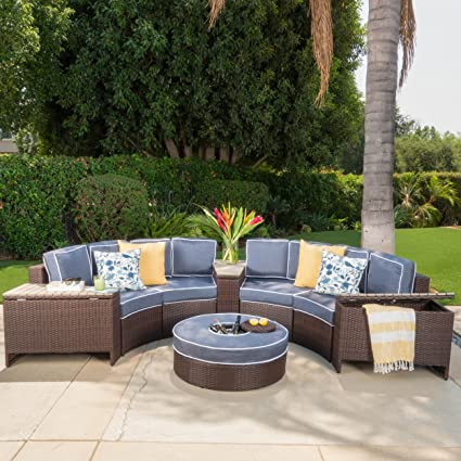 Beau Riviera Otranto Outdoor Patio Furniture Wicker 8 Piece Semicircular  Sectional Sofa Seating Set W/Waterproof