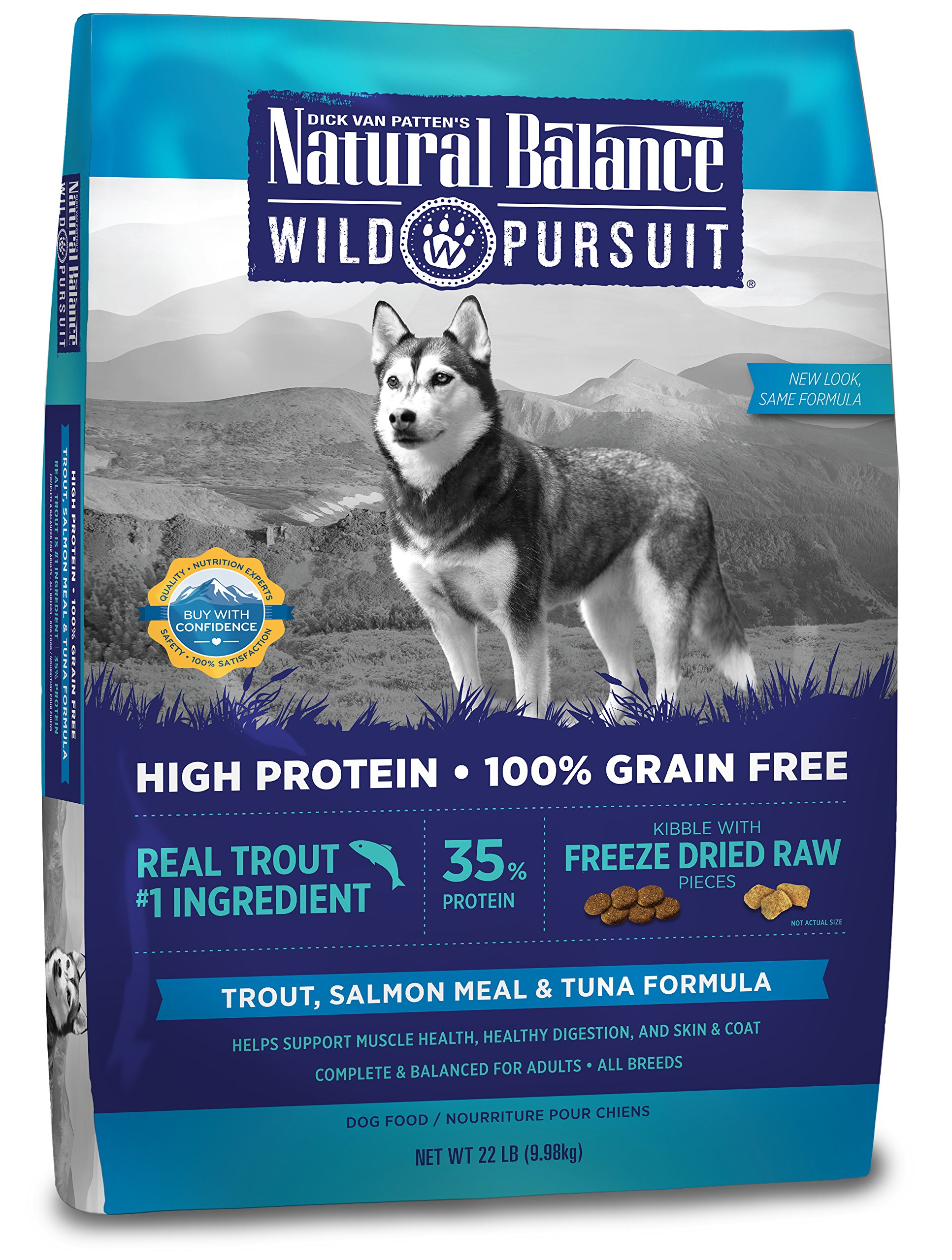 Natural Balance Wild Pursuit High Protein Grain Free Dry Dog Food, Trout, Salmon Meal & Tuna Formula, 22-Pound