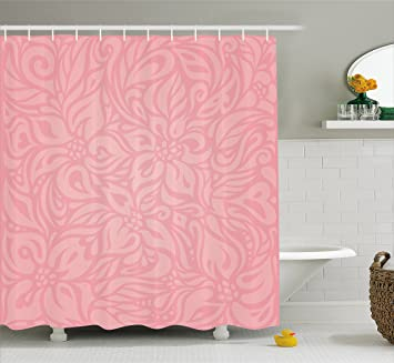 Peach Shower Curtain By Ambesonne Floral Arrangement With Wildflowers And Leaves Abstract Valentines Day Inspired